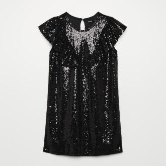 Cropp - Cekinowa sukienka z falbankami - Czarny
