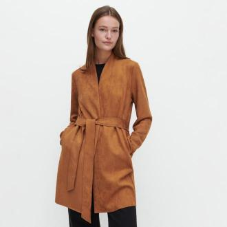 Reserved - Płaszcz z imitacji zamszu - Brązowy