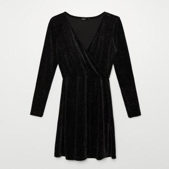 Cropp - Błyszcząca sukienka z kopertowym dekoltem - Czarny