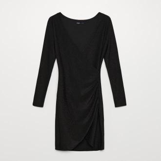 Cropp - Błyszcząca sukienka o kopertowym kroju - Czarny