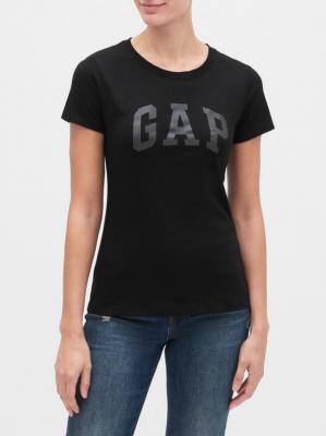 GAP czarna koszulka damska z logiem - XS