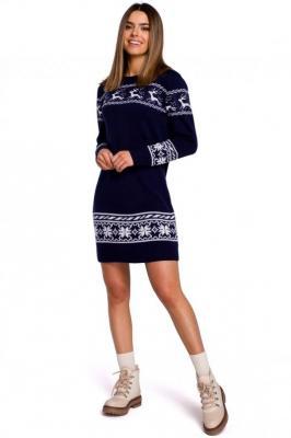 Granatowa Prosta Swetrowa Sukienka ze Świątecznym Motywem