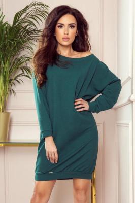 OVERSIZE Luźna dresowa sukienka - ZIELEŃ BUTELKOWA