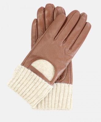Jasnobrązowe rękawiczki damskie