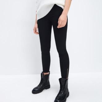 Mohito - Spodnie skinny fit z zamkami - Czarny