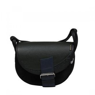 torebka damska skórzana Freshman Mini na ramię listonoszka czarno-zielona