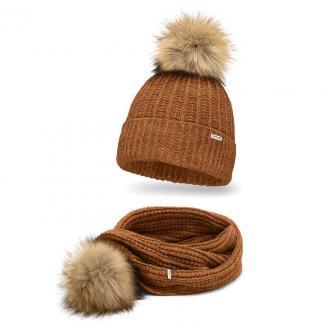 Ciepły komplet damski, czapka i szalik