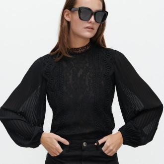 Reserved - Elegancka koronkowa bluzka - Czarny