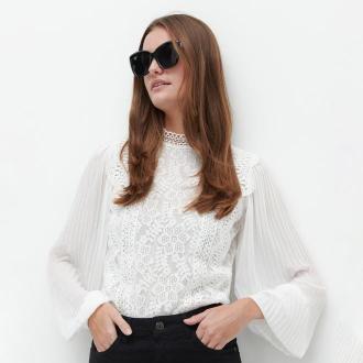 Reserved - Elegancka koronkowa bluzka - Biały