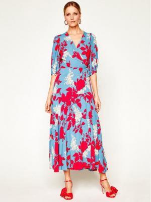 Calvin Klein Sukienka codzienna Prt ¾ Slv Wrap K20K201954 Niebieski Regular Fit
