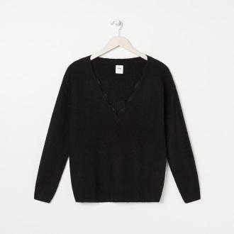 Sinsay - Sweter z koronką - Czarny