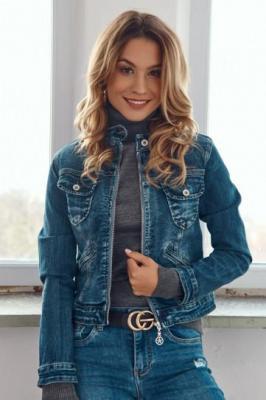 Krótka kurtka jeansowa ze stójką 0155