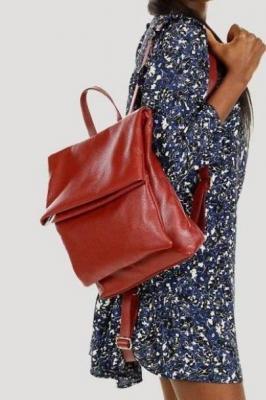 Domenica MARCO MAZZINI Plecak damski oldschoolowy A4 genuine leather czerwony roiboos
