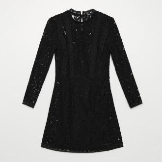 Cropp - Koronkowa sukienka ze stójką - Czarny