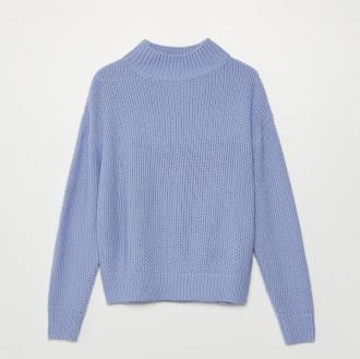 Cropp - Sweter o ryżowym splocie - Niebieski