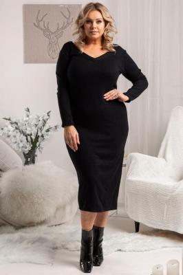 Sukienka sweterkowa z dekoltem w serek ołówkowa ANASTAZJA czarna PROMOCJA