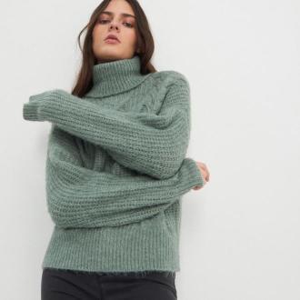 House - Puszysty sweter z golfem - Turkusowy