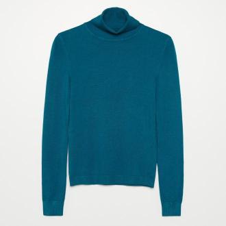 Cropp - Sweter basic z golfem - Turkusowy