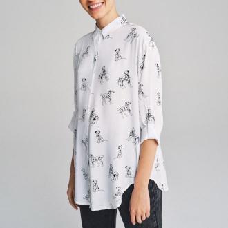 House - Wiskozowa koszula w dalmatyńczyki - Czarny