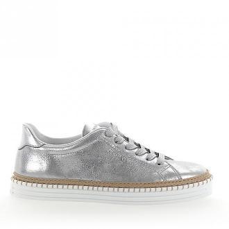 Hogan Sneakersy R260 skóra metallic srebrne wykończone