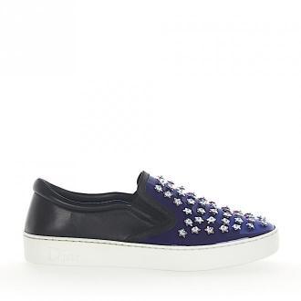 Dior Slip-On Sneakersy HAPPY skóra lakierowana niebieskie skóra czarne ozdobienia