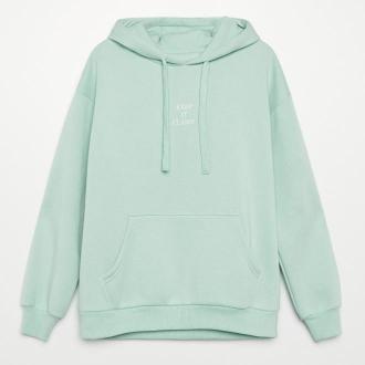 Cropp - Bluza z napisem - Zielony