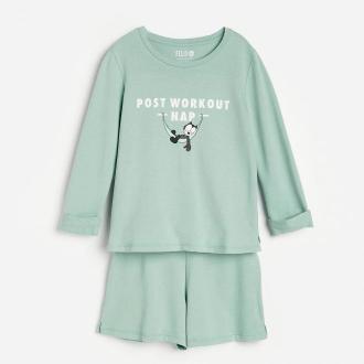 Reserved - Piżama dresowa z Kotem Feliksem - Zielony