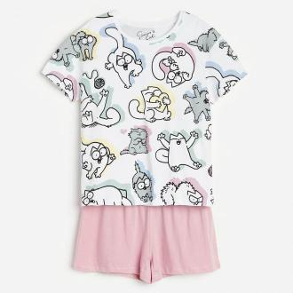 Reserved - Piżama z szortami Kot Simon - Biały