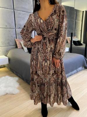 Brązowa Wzorzysta Sukienka Maxi 5325-318