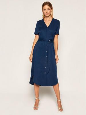 Calvin Klein Sukienka koszulowa Tencel SS Wrap K20K202182 Granatowy Regular Fit