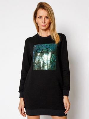 KARL LAGERFELD Sukienka dzianinowa Sequins Logo 210W1353 Czarny Regular Fit
