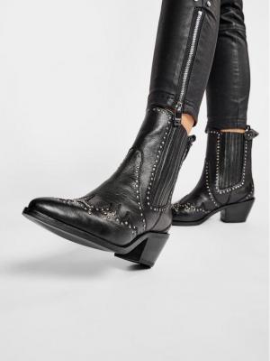 Pepe Jeans Botki Western W Studs PLS50395 Czarny