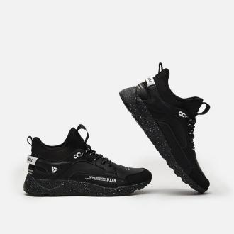 Cropp - Sneakersy ze skórzanymi elementami - Czarny