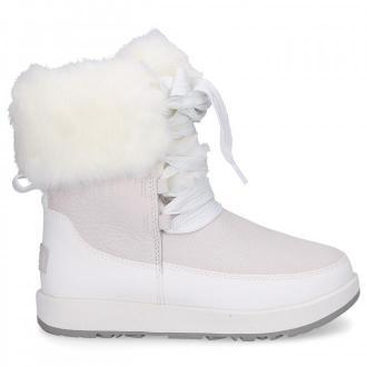 UGG Śniegowce GRACIE WATERPROOF skóra owcza Logo biały