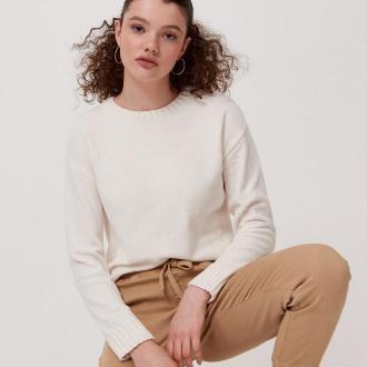 Cropp - Sweter z szenili - Kremowy