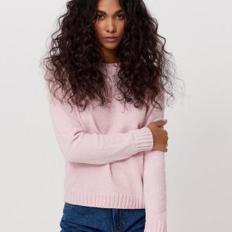 Cropp - Sweter z szenili - Różowy