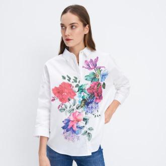 Mohito - Bawełniana koszula w kwiaty - Biały