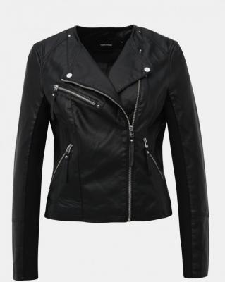 Czarna kurtka ze sztucznej skóry VERO MODA Ria - XS