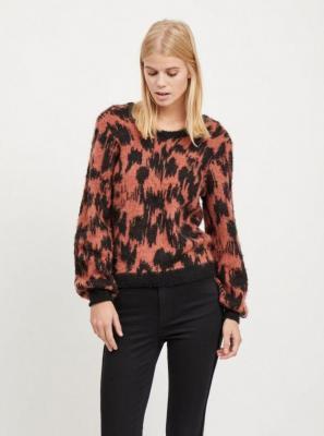 Wzorzysty sweter z czarnej cegły z domieszką wełny VILA Baini - L