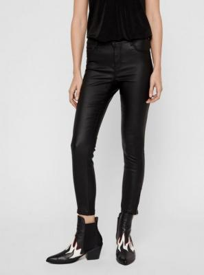 Czarne spodnie skinny fit Noisy May Kimmy ze sztucznej skóry - L