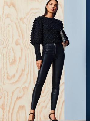 Czarne spodnie skinny ze sztucznej skóry Dorothy Perkins - L