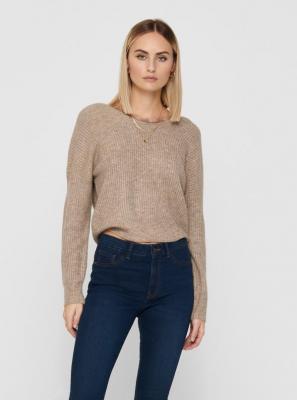 Beżowy sweter TYLKO z koronką z tyłu - S