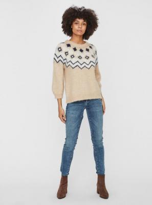 Beżowy wzorzysty sweter VERO MODA Fairs - XS