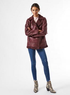 Burgundowa kurtka ze sztucznej skóry Dorothy Perkins - XS
