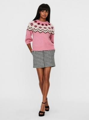 Różowy wzorzysty sweter VERO MODA Fairs - XS