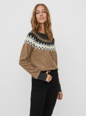 Brązowy sweter wzorzysty VERO MODA - XS