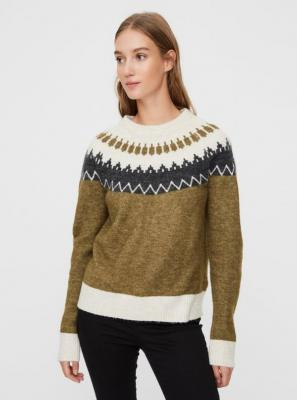 Khaki sweter wzorzysty VERO MODA - XS