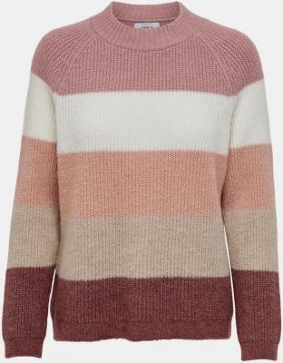 TYLKO sweter w różowe paski - XS