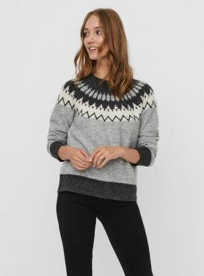 Szary sweter wzorzysty VERO MODA - XS