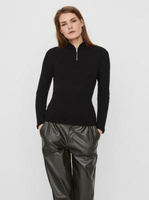 Czarny sweter zapinany na zamek VERO MODA - XS